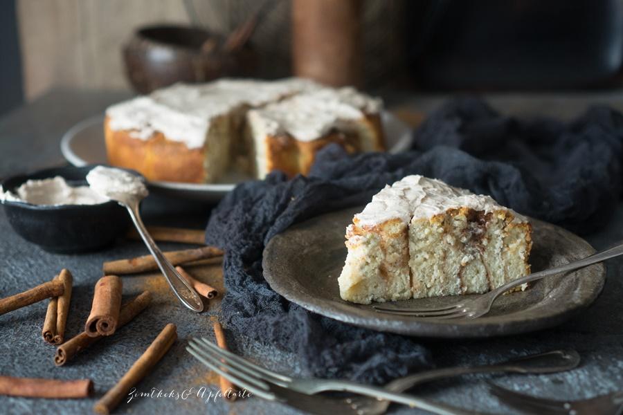Einfach und schnell: Weltbester Zimtschnecken-Kuchen - Rosenkuchen mit Zimt