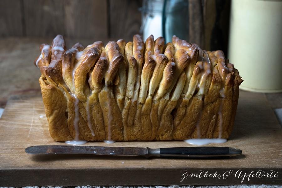 Apfel-Zupfbrot - Pull-Apart-Bread mit Zimt - aus Hefeteig ganz lecker