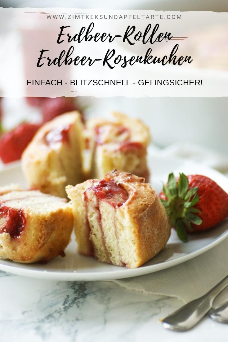 Erdbeeer-Rollen - Erdbeer-Rosenkuchen - super einfach und blitzschnell gebacken aus Quark-Ölteig mit frischen Erdbeeren! Toller Kuchen oder auch einfach Rollen auf die Hand, wie jeder mag., Ganz einfach zum selber backen für die Kaffeetafel, Picknick oder Brunch. #erdbeeren #zimtrollen #erdbeerschnecken #Rosenkuchen #quarkölteig #einfach #schnell