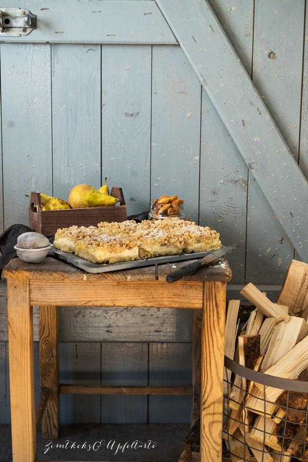 Gelingsicheres Rezept für Birnen-Cheesecake mit crunchy Streuseln