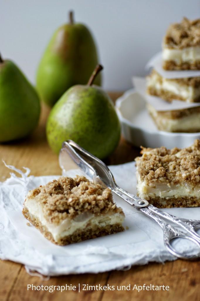 lecker und einfach Birnen Cheesecake mit crunchy Streuseln
