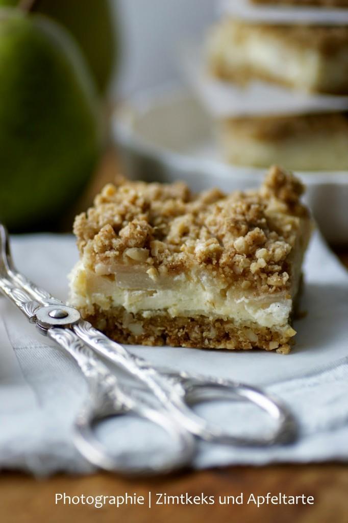 Birnen-Cheesecake mit crunchy Streuseln - ZimtkeksundApfeltarte.com