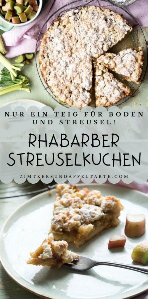 Rhabarber Streuselkuchen - ganz einfaches und schnelles Rezept. Nur ein Teig für Boden und Streusel!
