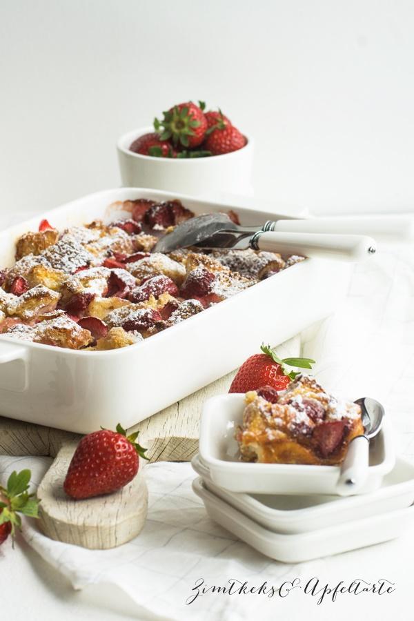 Fruchtiger Erdbeer-French-Toast-Auflauf einfach und lecker