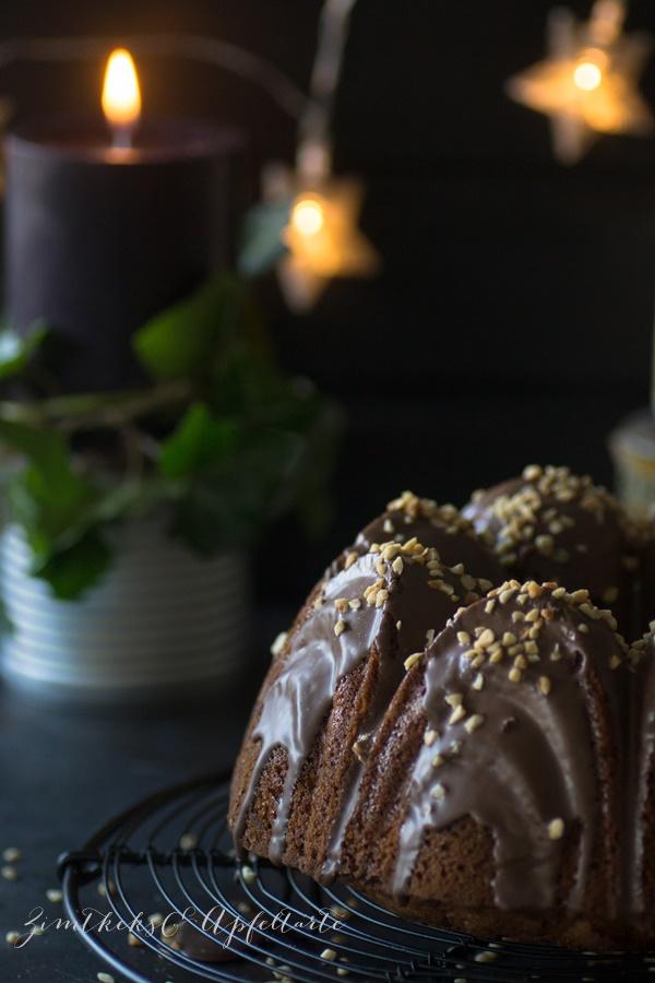 einfaches Rezept für Maronen-Gugelhupf mit Glühwein und Gewürzen