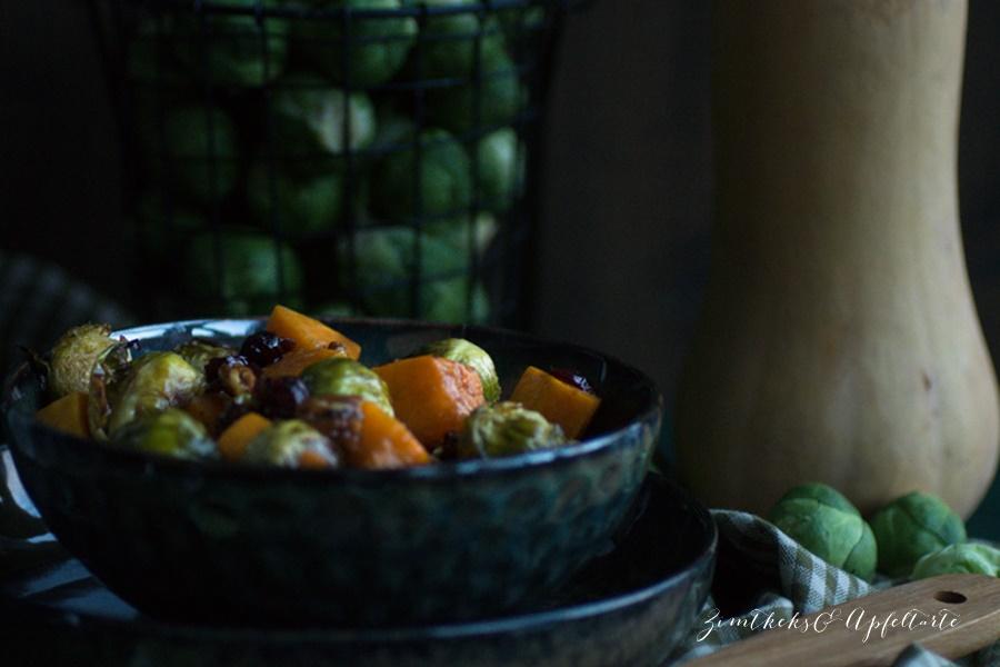 k stliches einfaches rezept rosenkohl butternut salat mit cranberries. Black Bedroom Furniture Sets. Home Design Ideas