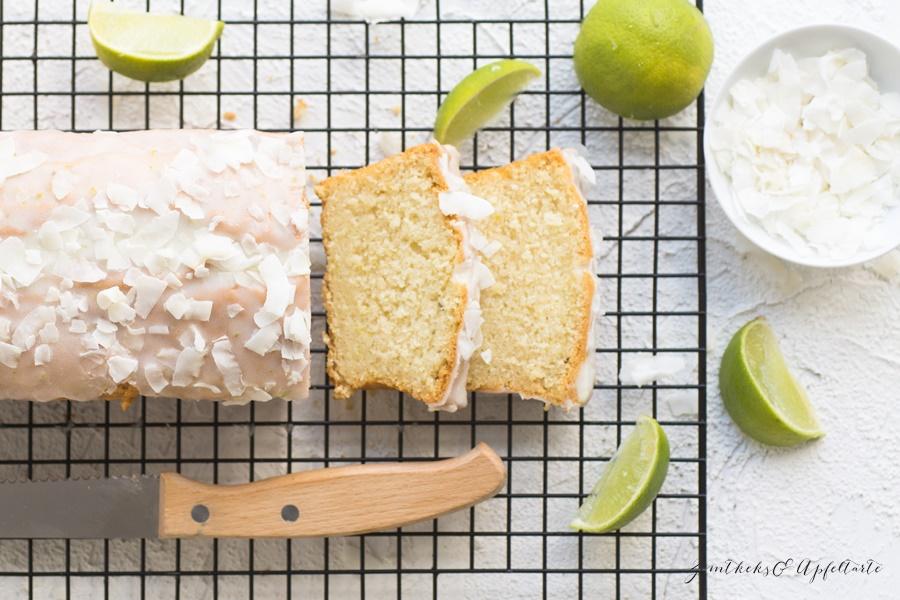 Limetten-Kokos-Kuchen fluffig, einfach und ganz schnell selber backen