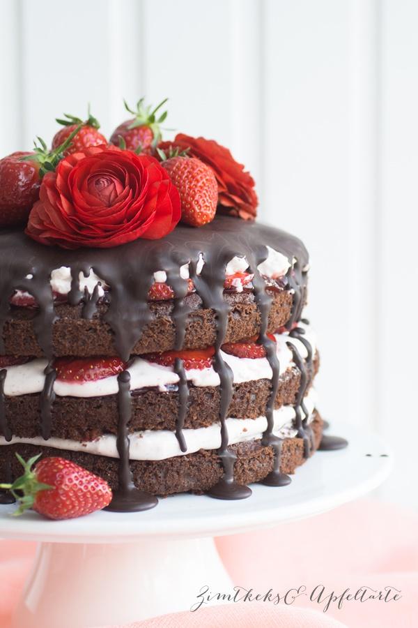 einfach gebacken: Schokoladen-erdbeer-Naked Cake