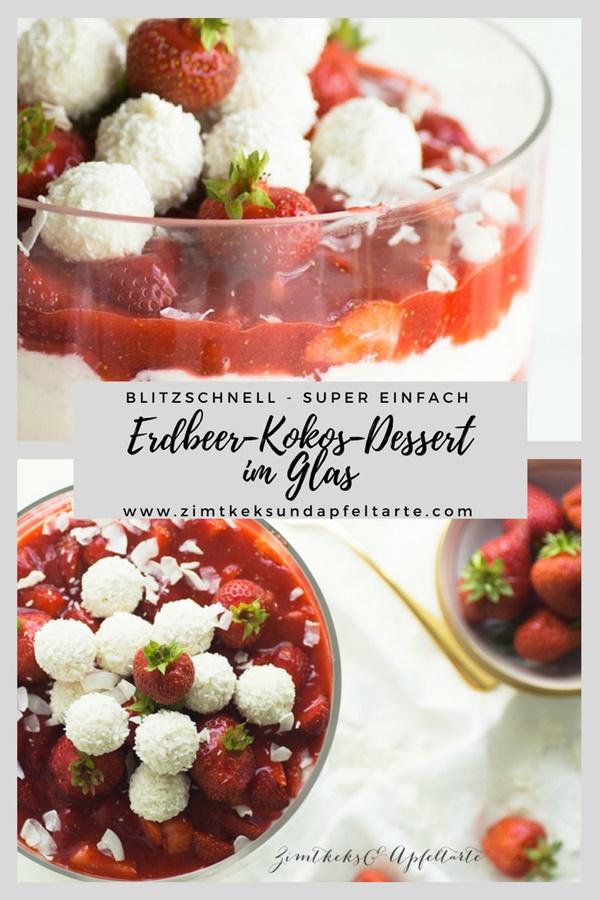 Einfaches Dessert: Erdbeer-Kokos-Dessert im Glas - Erdbeer-Kokos-Trifle