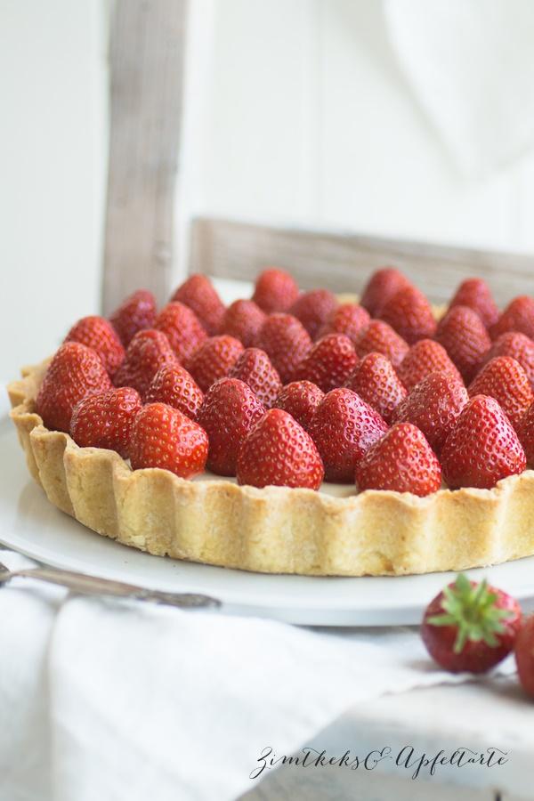 Weiße Schokoladentarte mit Erdbeeren - schnell gebacken