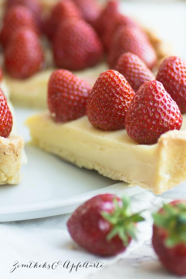 Weiße Schokoladentarte mit Erdbeeren - tolles Sommer-Rezept