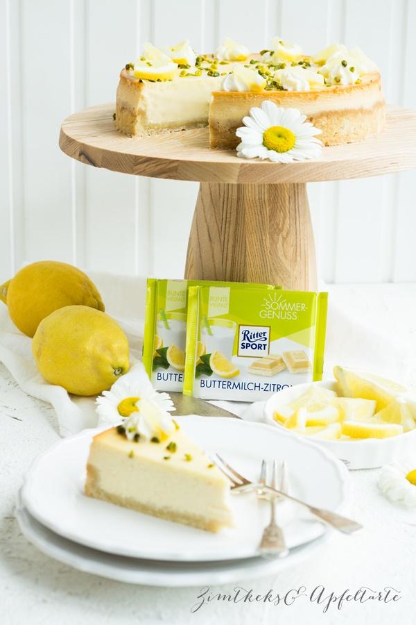 Tolles Rezept für Zitronen-Cheesecake mit weißer Schokolade