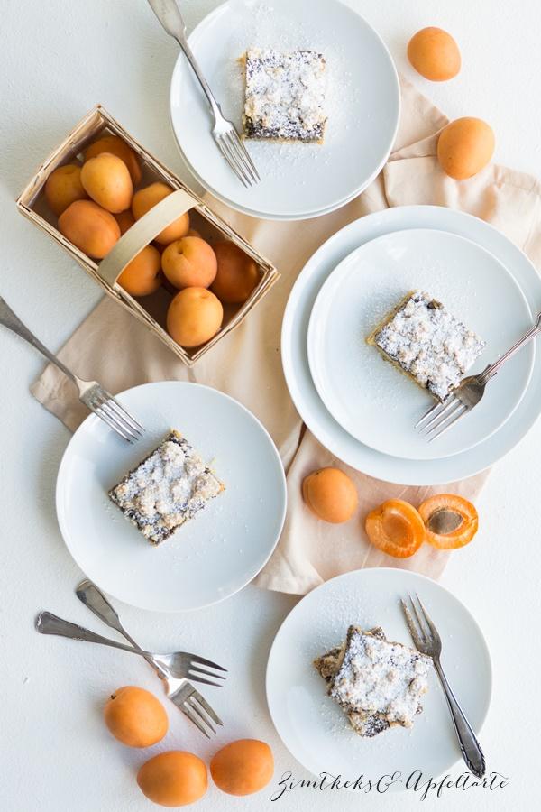 einfaches Rezept für saftige Mohn-Aprikosen-Schnitten mit Streuseln