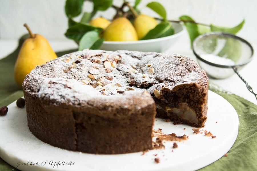 Glutenfreier Birnen-Schokoladenkuchen - Rezept von ZimtkeksundApfeltarte.com