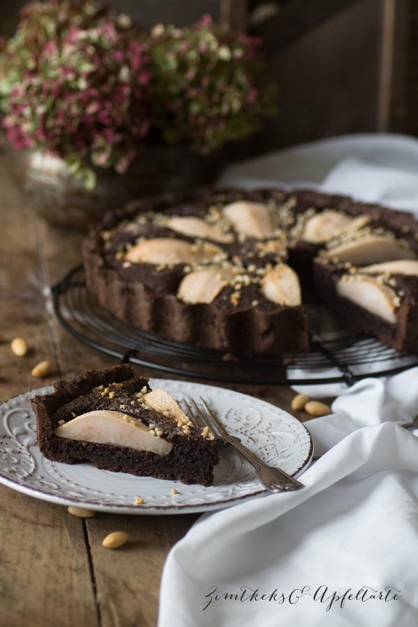 Schokoladen-Frangipane-Tarte mit Birnen - von ZimtkeksundApfeltarte.com