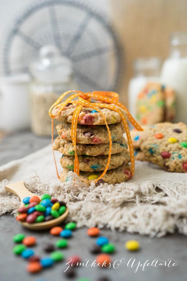 M&M-Cookies mit Haferflocken - super lecker - super einfach!
