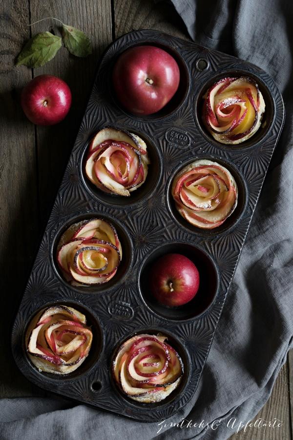 Köstlich backen mit Äpfeln - Andrea Natschke-Hofmann - ZimtkeksundApfeltarte.com - Apfelrosen-Muffins
