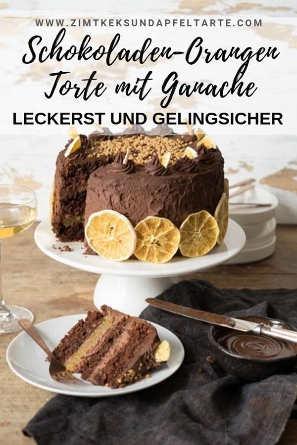 Schokoladen-Orangen-Torte mit Mandeln und Schoko-Ganache