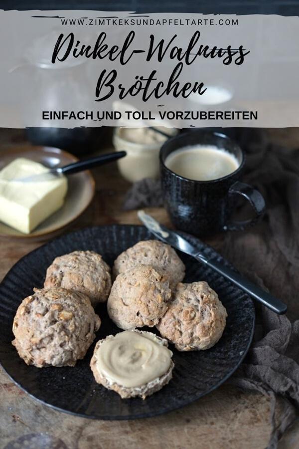 Ganz einfaches Rezept mit Übernachtgare für Dinkel-Walnuss-Brötchen von ZimtkeksundApfeltarte.com