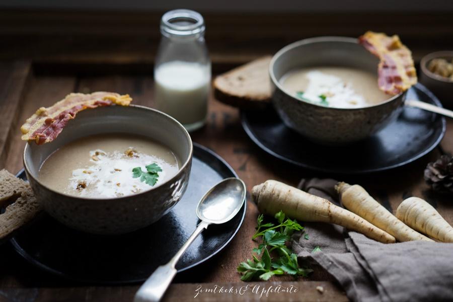 Maronensuppe mit karamellisierten Nüssen und Speck - easy gekocht, auch lecker zu Weihnachten