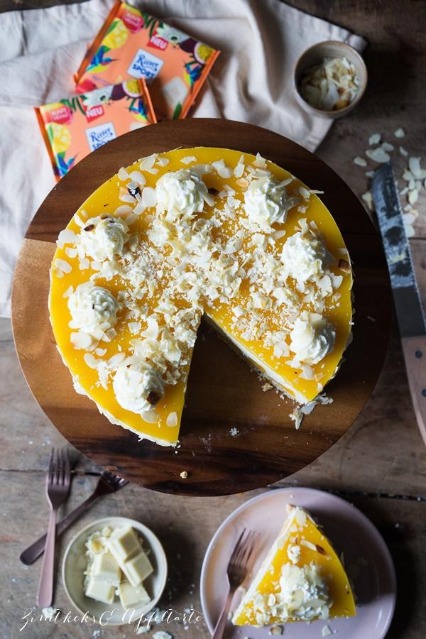 Mango-Skyr-Cheesecake mit Fruchtspiegel ohne Backen - einfaches Rezept von ZimtkeksundApfeltarte.com