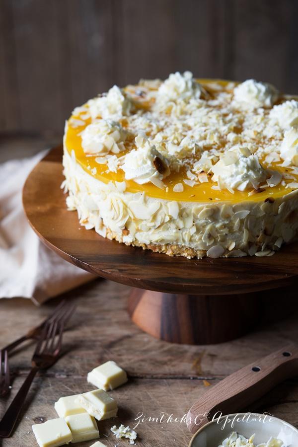 Mango-Skyr-Cheesecake mit Fruchtspiegel ohne Backen - einfaches Rezept