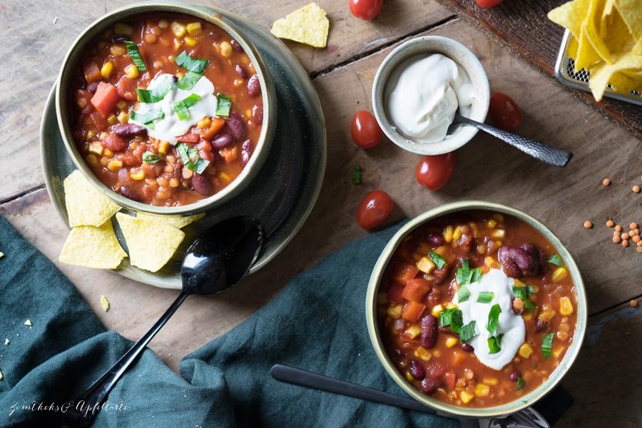 Chili sin carne, vegan einfach und schnell - Rezept von ZimtkeksundApfeltarte.com