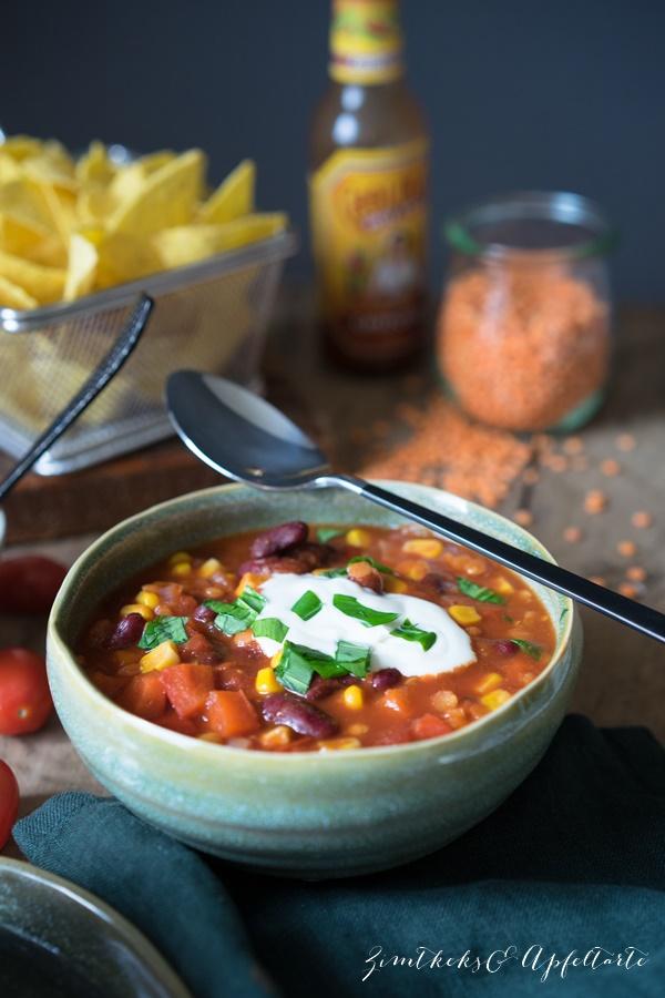 Chili sin carne - veganes und einfaches Rezept von ZimtkeksundApfeltarte.com