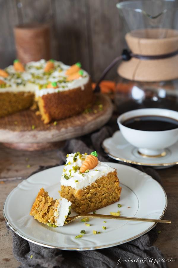 Veganer und glutenfreier Rüblikuchen - Karottenkuchen - Carrot Cake - ganz einfach und schnell gebacken