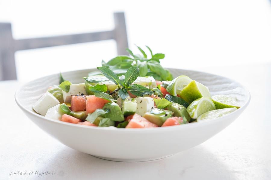 Melonen Feta Salat mit Avocado