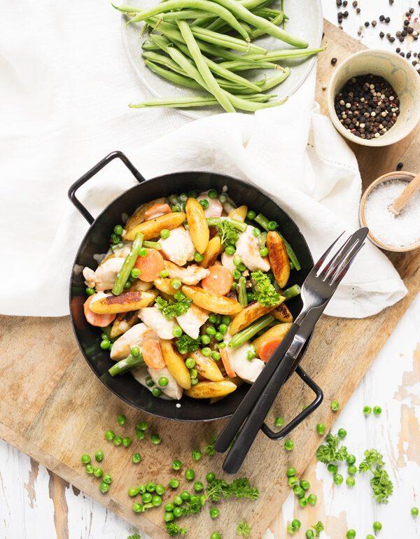 Einfaches und schnelles Familiengericht: Schupfnudelpfanne mit Hähnchenbrust und Gemüse