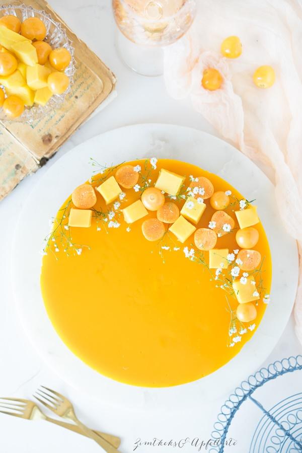 Fruchtiger no-bake Mango Cheesecake - einfaches, gelingsicheres Rezept