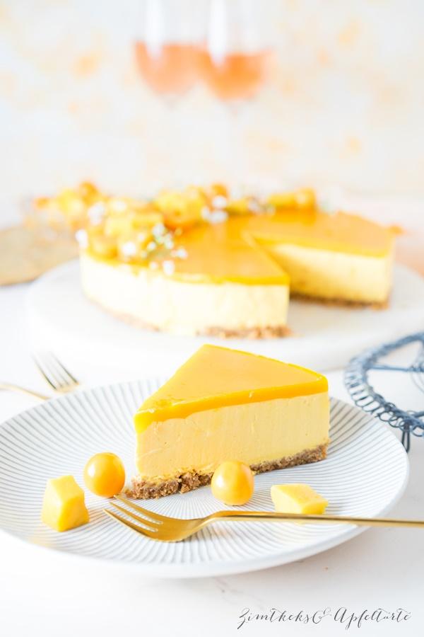 Fruchtiger no-bake Mango Cheesecake - super cremig, locker und sehr lecker