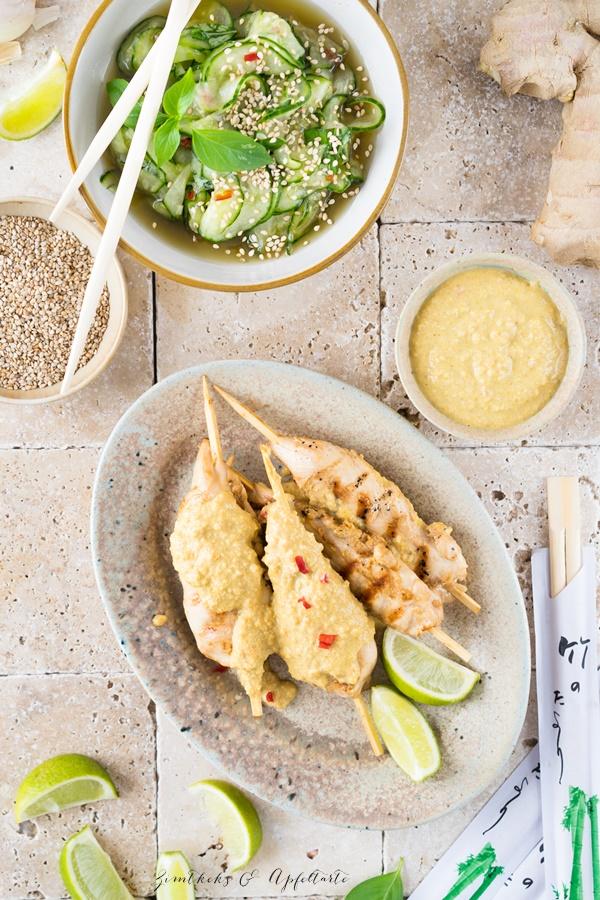 Saté Spiesse mit Erdnusssauce und Thai Gurkensalat - einfach selber machen, schmeckt wie beim Thailänder