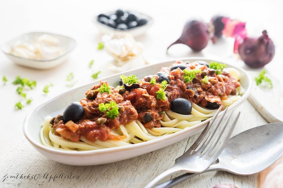 Pasta alla Puttanesca mit Thunfisch
