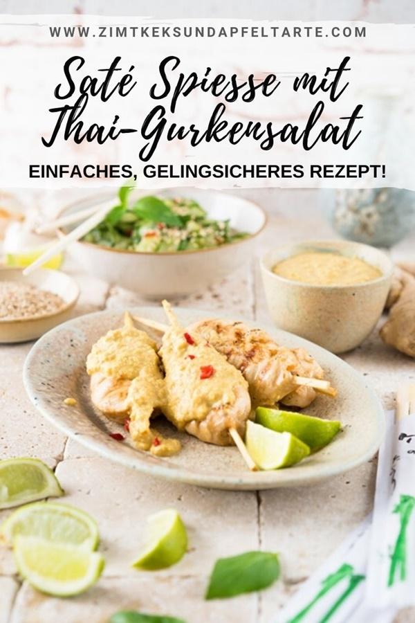 Hähnchen Saté Spiesse mit Erdnusssosse und Thai-Gurkensalat - ganz einfaches Rezept für diese wundervolle Thai-Gericht - gelingsicher und lecker selber machen