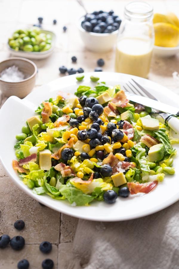 Sommersalat mit Blaubeeren, Edamame und Honig-Dressing - Zimtkeks und Apfeltarte