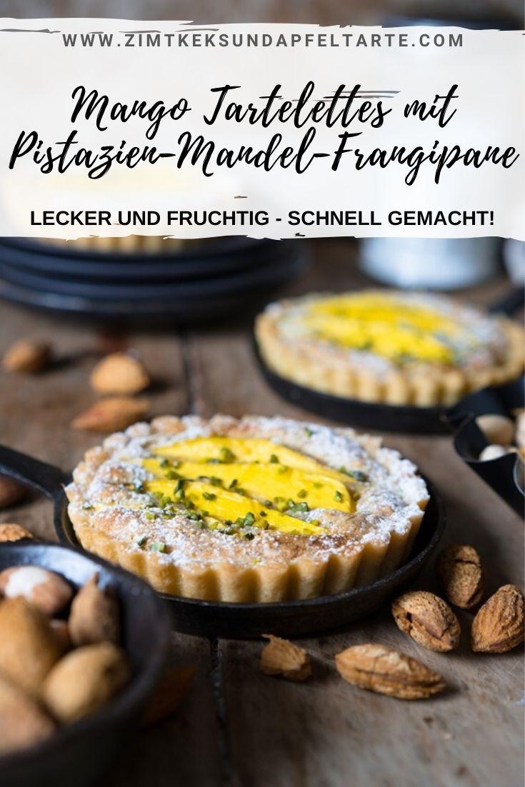 Mango Tartelettes mit Pistazien-Mandel-Frangipane - ganz einfaches Rezept für diese leckeren kleinen Tartes, die mit jeder beliebigen Frucht ganz einfach abwandelbar sind. Schnelles Rezept zum Selber backen, gelingsicher und super köstlich.