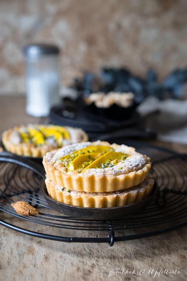Mango-Tartelettes mit Pistazien-Mandel-Frangipane - lecker und einfach selber backen