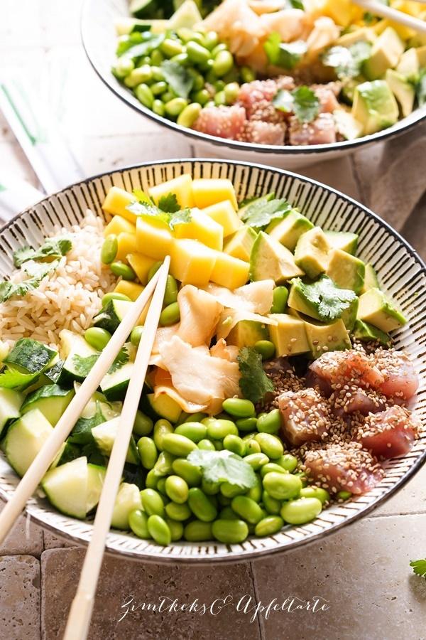 Mango Thunfisch Poké Bowlmit Edamame - Rezept gelingsicher und einfach