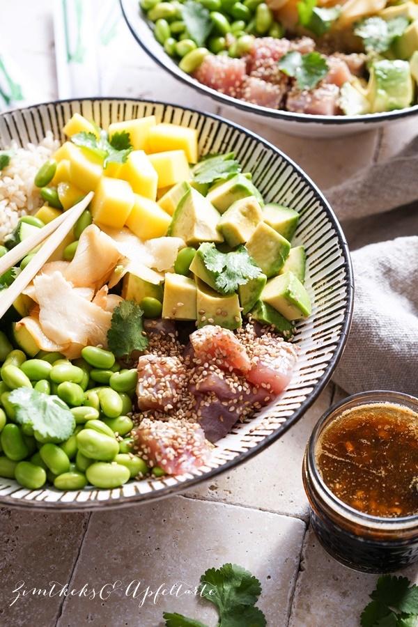 Rezept für Mango Thunfisch Poké Bowl mit Edamame und Ingwer