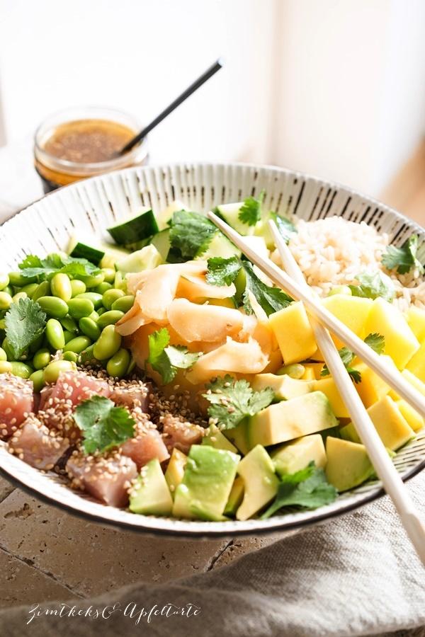Rezept Mango Thunfisch Poké Bowl mit Edamame - super einfach und schnell gemacht