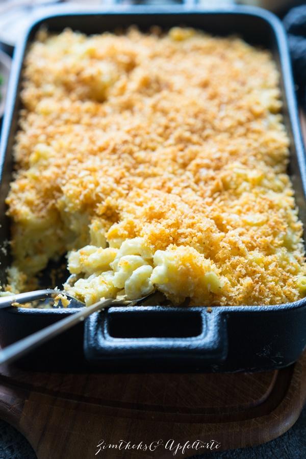 Überbackene Mac and Cheese mit Panko-Crumbs - ganz einfach selber kochen