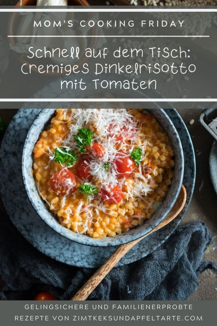 Super lecker, cremig und schlotzig: Dinkelrisotto mit Tomate. Ganz einfaches und blitzschnelles Rezept für dieses leckere Familiengericht. In 30 Minuten auf dem Tisch!