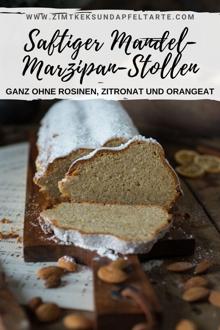 Mandel-Marzipan-Stollen: ganz einfaches Rezept. Super saftiger Stollen ganz ohne Rosinen, Zitronat oder Orangeat. Schmeckt himmlisch lecker und ist einfach selber gebacken