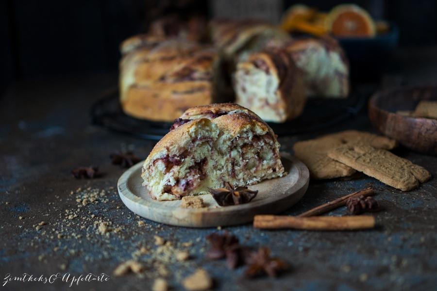 winterlicher Spekulatius-Hefekuchen mit Marmelade - ganz einfach und lecker