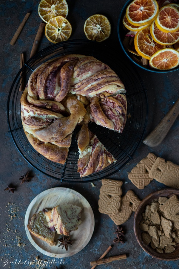 winterlicher Spekulatius-Hefekuchen mit Marmelade - einfaches gelingsicheres Rezept