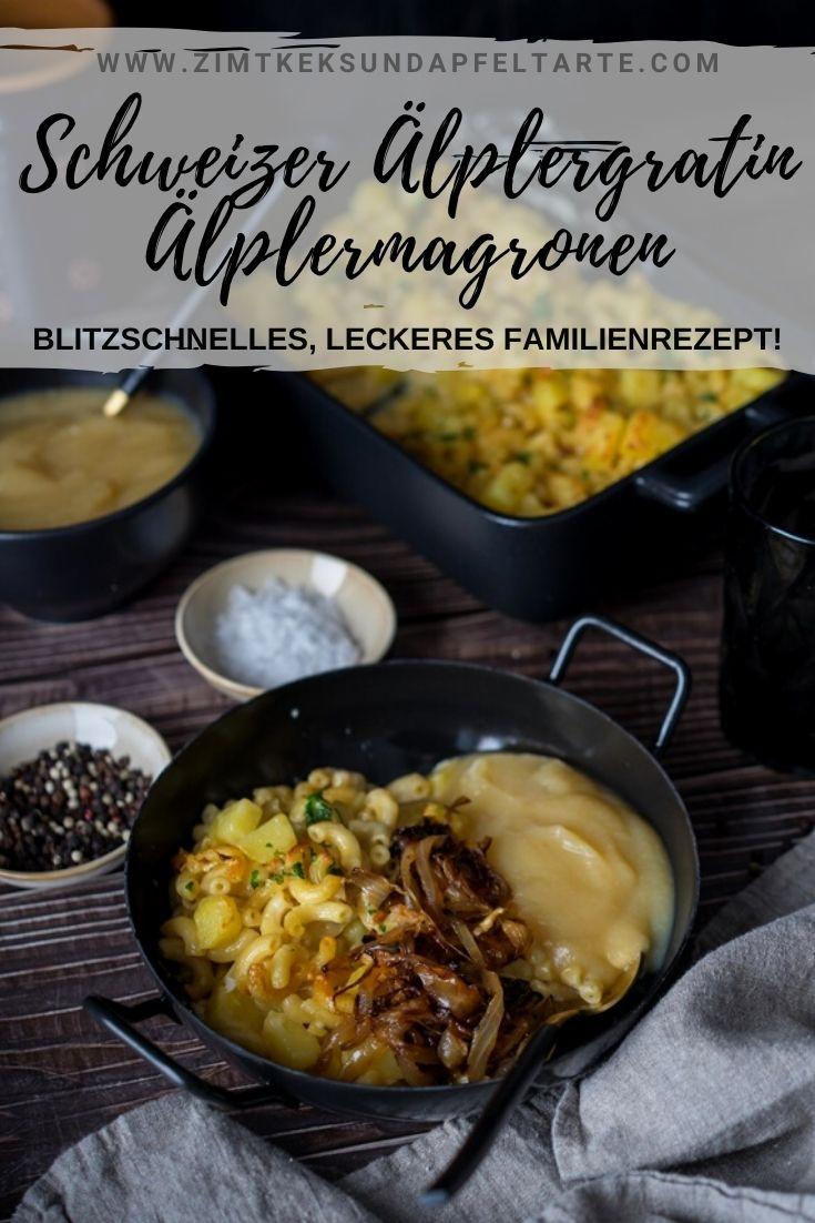 Älplermagronen - Schweizer Älplergratin - ganz einfaches und schnelles Rezept für diesen leckeren Auflauf mit Käse und Röstzwiebeln. Serviert mit Apfelmus ein absoluter Genuss und das perfekte Familienessen. Kinder lieben es!