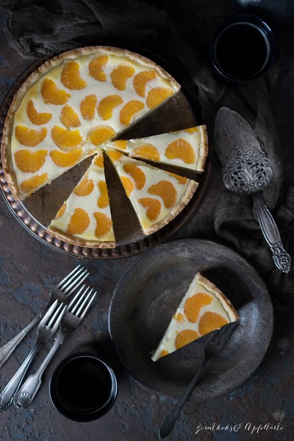 Schmandkuchen mit Mandarinen oder Faule Weiber Kuchen - einfacher cremiger Käsekuchen mit Mandarinen