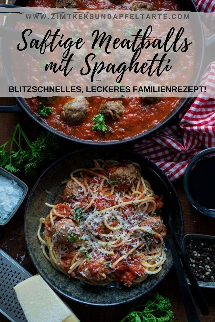 Spaghetti and Meatballs - Blitzrezept für Fleischbällchen in Tomatensauce - ganz einfaches und schnelles Rezept für dieses Kinder-Lieblingsessen. Saftige Hackfleischbällchen in würziger Tomatensauce mit der Lieblingspasta gemischt. Tolles, schnelles und ganz einfaches Nudelgericht für die ganze Familie!